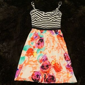 Bebe Striped Bustier Floral Print Sundress Small